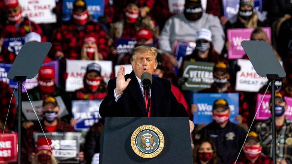 DULUTH, MN - SEPTEMBER 30: President Donald Trump speaks during a campaign rally at the Duluth International Airport on September 30, 2020 in Duluth, Minnesota. The rally is Trump's first after last night's Presidential Debate. (Photo by Stephen Maturen/Getty Images)