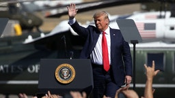 "PRESCOTT, AZ - OCTOBER 19: U.S. President Donald Trump arrives at a ""Make America Great Again"" campaign rally on October 19, 2020 in Prescott, Arizona. With almost two weeks to go before the November election, President Trump is back on the campaign trail with multiple daily events as he continues to campaign against Democratic presidential nominee Joe Biden. (Photo by Caitlin O'Hara/Getty Images)"