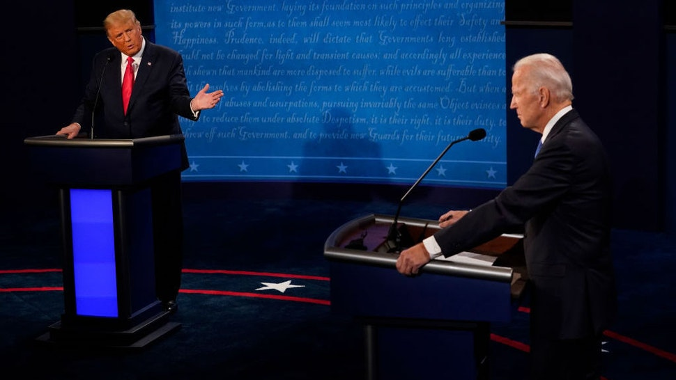 NASHVILLE, TENNESSEE - OCTOBER 22: President Donald Trump gestures toward Democratic presidential candidate former Vice President Joe Biden during the second and final presidential debate at Belmont University on October 22, 2020 in Nashville, Tennessee. This is the last debate between the two candidates before the election on November 3. (Photo by Morry Gash-Pool/Getty Images)