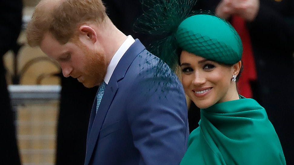 Britain's Prince Harry, Duke of Sussex, (L) and Meghan, Duchess of Sussex arrive to attend the annual Commonwealth Service at Westminster Abbey in London on March 09, 2020. - Britain's Queen Elizabeth II has been the Head of the Commonwealth throughout her reign. Organised by the Royal Commonwealth Society, the Service is the largest annual inter-faith gathering in the United Kingdom.