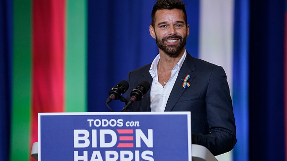 KISSIMMEE, FL - SEPTEMBER 15: Singer Ricky Martin speaks during a Hispanic heritage event with Democratic presidential nominee and former Vice President Joe Biden at Osceola Heritage Park on September 15, 2020 in Kissimmee, Florida. National Hispanic Heritage Month in the United States runs from September 15th to October 15th.