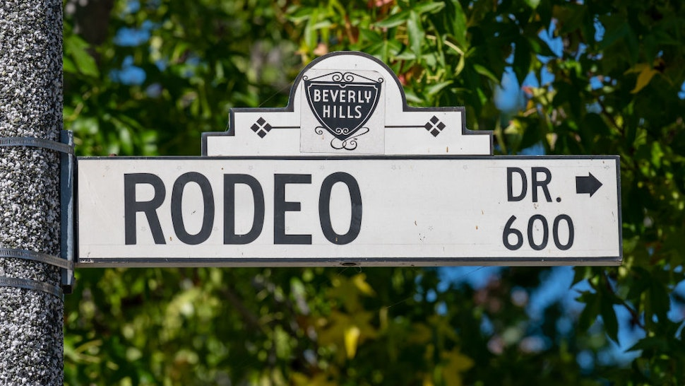View of Rodeo Drive street sign is seen in Beverly Hills on July 30, 2020 in Los Angeles, California. (Photo by RBL/Bauer-Griffin/GC Images)