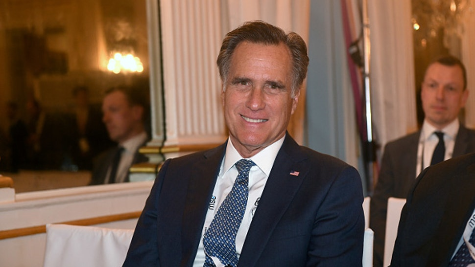 14 February 2020, Bavaria, Munich: Mitt Romney, US Senator, waits for an event to begin on the first day of the 56th Munich Security Conference.