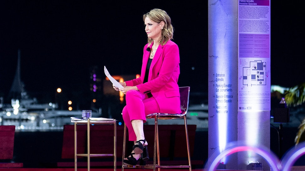 US President Donald Trump participates in an NBC News town hall event moderated by Savannah Guthrie at the Perez Art Museum in Miami on October 15, 2020.