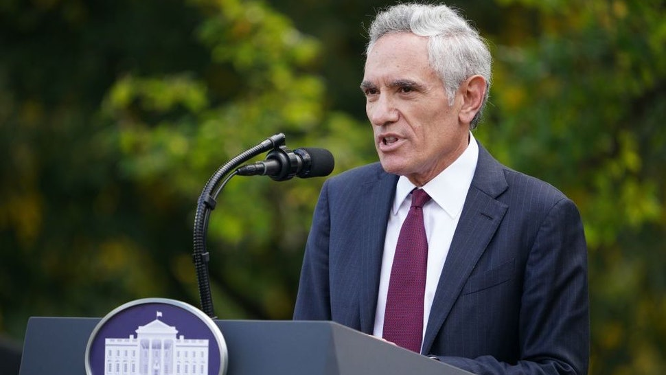 White House coronavirus adviser Dr. Scott Atlas speaks on Covid-19 testing in the Rose Garden of the White House in Washington, DC on September 28, 2020. (Photo by MANDEL NGAN / AFP) (Photo by MANDEL NGAN/AFP via Getty Images)