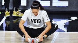 PALMETTO, FLORIDA - OCTOBER 06: Sue Bird #10 of the Seattle Storm stretches before Game 3 of the WNBA Finals against the Las Vegas Aces at Feld Entertainment Center on October 06, 2020 in Palmetto, Florida. NOTE TO USER: User expressly acknowledges and agrees that, by downloading and or using this photograph, User is consenting to the terms and conditions of the Getty Images License Agreement.