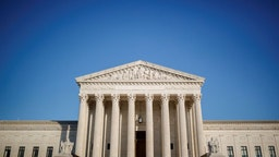 WASHINGTON, D.C., Oct. 26, 2020 -- Photo taken on Oct. 26, 2020 shows the U.S. Supreme Court in Washington, D.C., the United States. A divided U.S. Senate voted mostly along party line Monday to confirm Judge Amy Coney Barrett, President Donald Trump's nominee, to the Supreme Court, succeeding late Justice Ruth Bader Ginsburg. (Photo by Ting Shen/Xinhua via Getty) (Xinhua/Ting Shen via Getty Images)