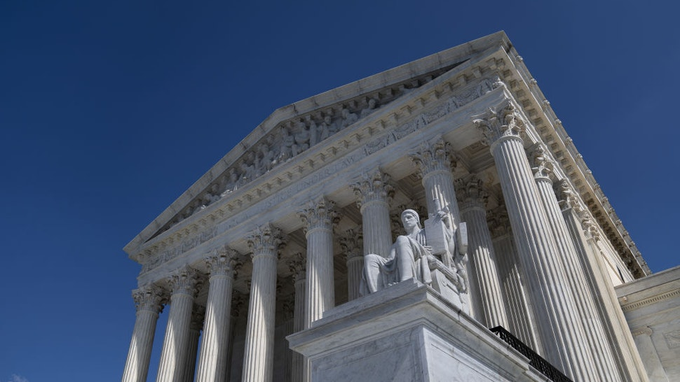 The U.S. Supreme Court stands in Washington, D.C., U.S. on Tuesday, Oct. 6, 2020. Alphabet Inc.'s Google andOracle Corp.will face off in the U.S. Supreme Court on Wednesday in a multibillion-dollar copyright dispute with sweeping implications for technology and media companies worldwide.