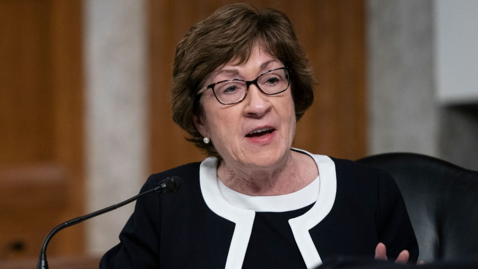 WASHINGTON, DC - SEPTEMBER 23: U.S. Sen. Susan Collins (R-ME) speaks at a hearing of the Senate Health, Education, Labor and Pensions Committee on September 23, 2020 in Washington, DC. The committee is examining the federal response to the coronavirus pandemic. (Photo by Alex Edelman-Pool/Getty Images)