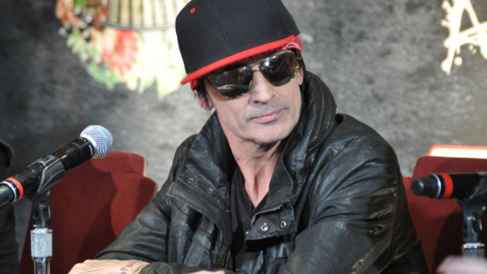 HOLLYWOOD, CA - JANUARY 28: Drummer Tommy Lee of rock band Motley Crue during a press conference announcing their farewell tour at Beacher's Madhouse on January 28, 2014 in Hollywood, California.