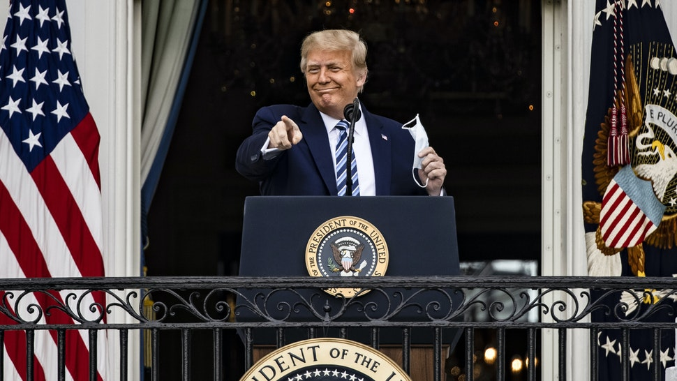 WASHINGTON, DC - OCTOBER 10: U.S. President Donald Trump addresses a rally in support of law and order on the South Lawn of the White House on October 10, 2020 in Washington, DC. President Trump invited over two thousand guests to hear him speak just a week after he was hospitalized for COVID-19.