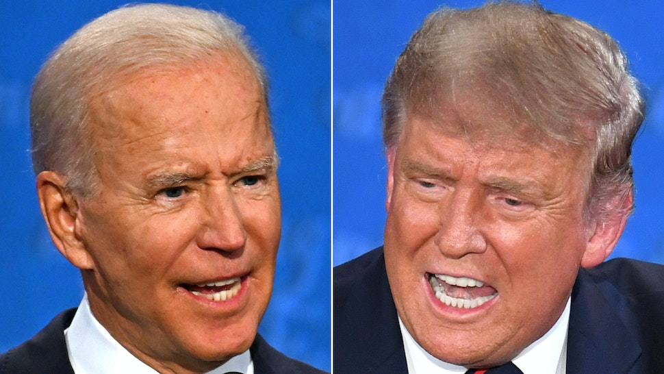 TOPSHOT - (COMBO) This combination of pictures created on September 29, 2020 shows Democratic Presidential candidate and former US Vice President Joe Biden (L) and US President Donald Trump speaking during the first presidential debate at the Case Western Reserve University and Cleveland Clinic in Cleveland, Ohio on September 29, 2020.