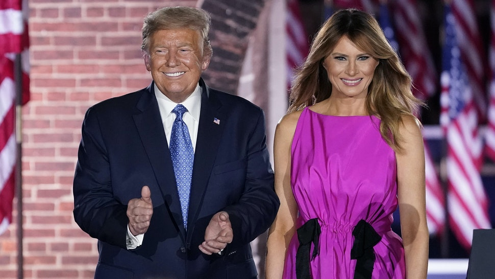 BALTIMORE, MARYLAND - AUGUST 26: President Donald Trump and first lady Melania Trump attend Mike Pence's acceptance speech for the vice presidential nomination during the Republican National Convention at Fort McHenry National Monument on August 26, 2020 in Baltimore, Maryland. The convention is being held virtually due to the coronavirus pandemic but includes speeches from various locations including Charlotte, North Carolina, Washington, DC, and Baltimore, Maryland.