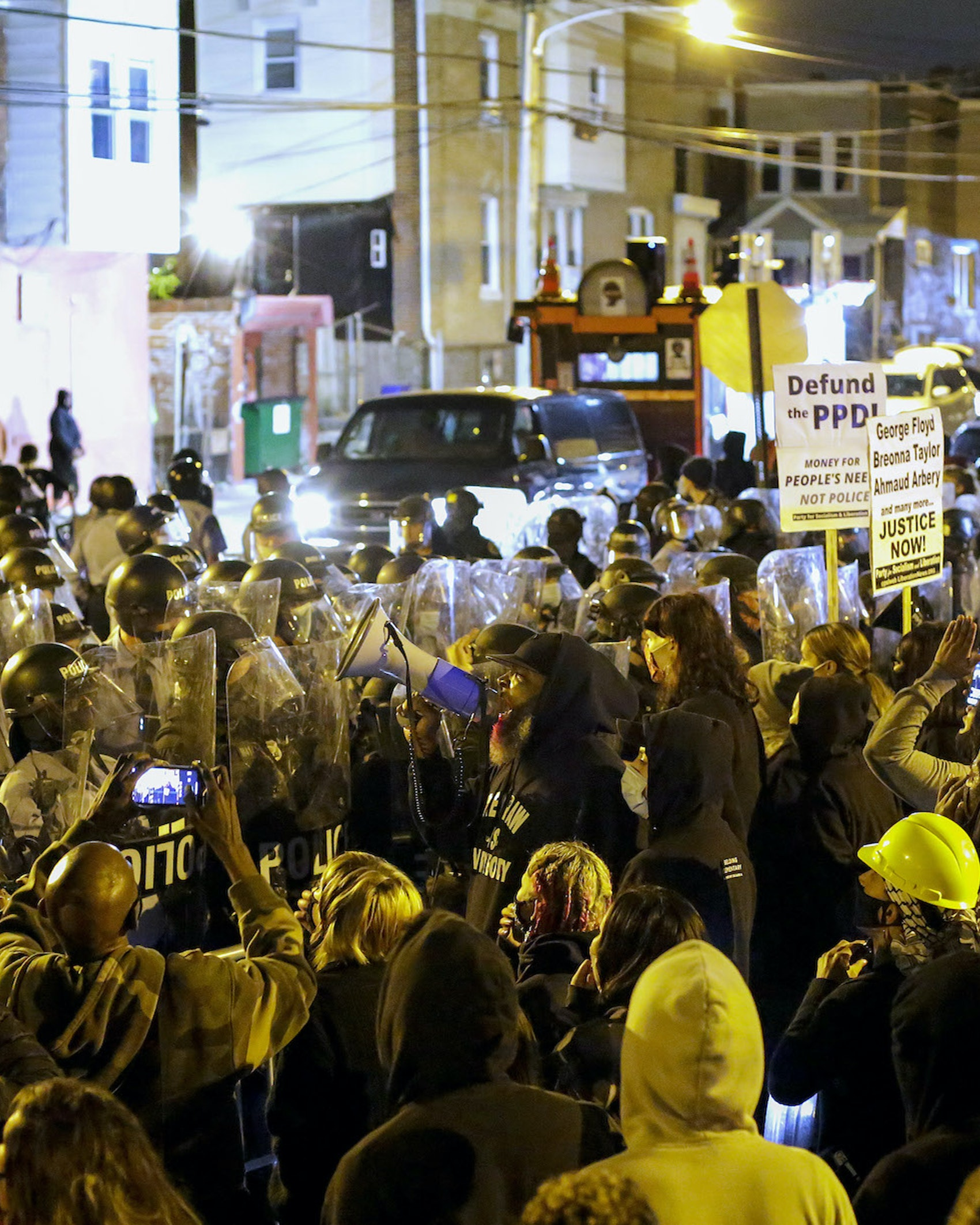 Demonstrators protest the fatal police shooting of Walter Wallace Jr. on October 27, 2020 in Philadelphia, Pennsylvania. Wallace Jr. was fatally shot by two Philadelphia police officers after refusing to drop a knife he was holding. (Photo by Joshua Lott/The Washington Post via Getty Images)