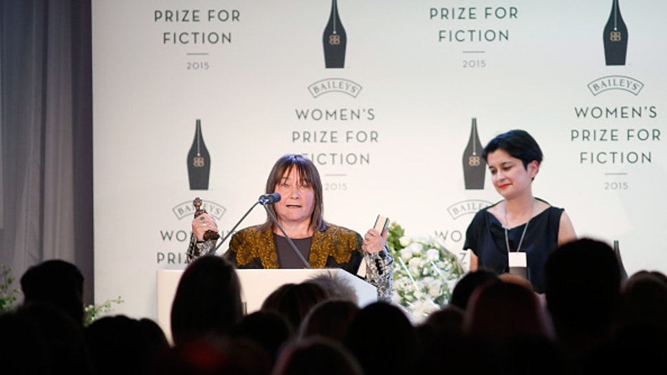 LONDON, ENGLAND - JUNE 03: Ali Smith (L) wins the 2015 Baileys Women's Prize for Fiction for her novel How To Be Both (Hamish Hamilton) next to the Chair of judges Shami Chakrabarti (R) at the Royal Festival Hall, London on Wednesday 3 June 2015 in London, England.