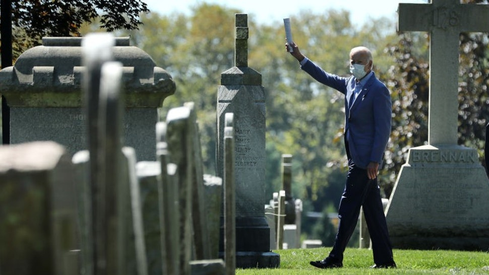 WILMINGTON, DELAWARE - SEPTEMBER 06: Democratic presidential nominee and former Vice President Joe Biden waves to journalists as he leaves St. Joseph on the Brandywine Roman Catholic Church after attending Sunday services September 06, 2020 in Wilmington, Delaware. Biden's oldest son, former Delaware Attorney General Beau Biden, who died of cancer in 2015; and Biden's first wife Neilia Biden and their daughter Naomi, who died in an automobile accident in 1972, are all buried in the church's cemetery. (Photo by