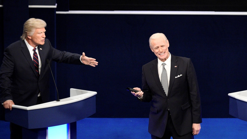 """SATURDAY NIGHT LIVE -- """"Chris Rock"""" Episode 1786 -- Pictured: (l-r) Alec Baldwin as Donald Trump and Jim Carrey as Joe Biden during the """"First Debate"""" Cold Open on Saturday, October 3, 2020 -- (Photo by:"""
