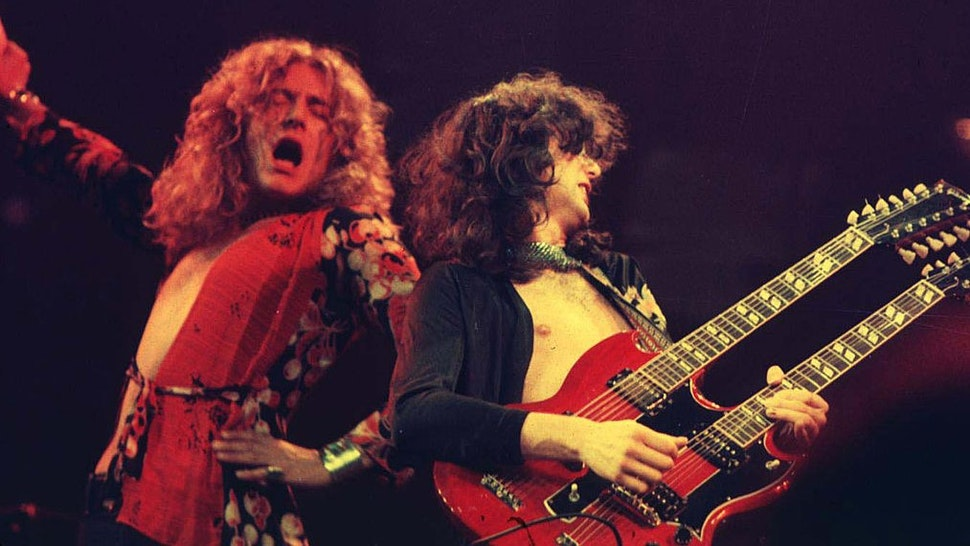 Robert Plant and Jimmy Page of Led Zeppelin at the Chicago Stadium in Chicago, Illinois (Photo by
