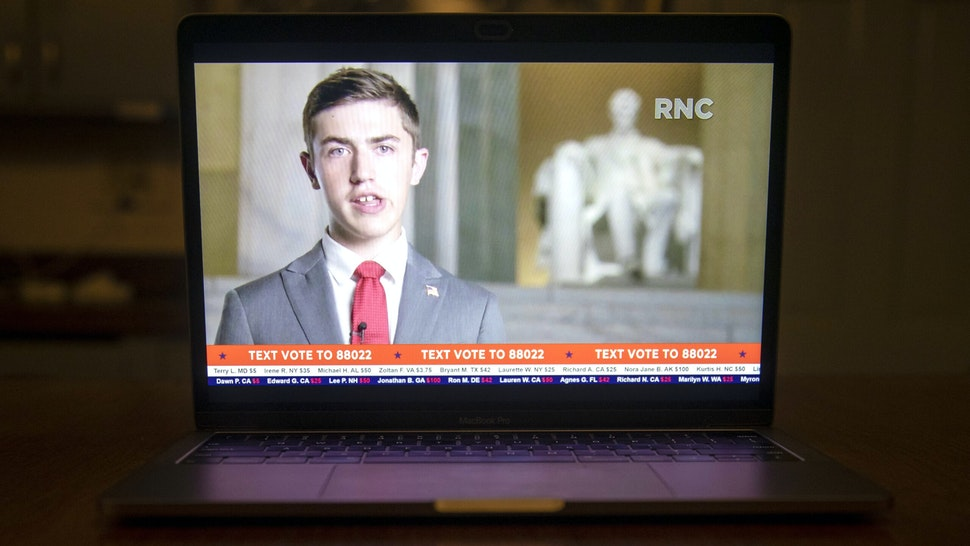 Nicholas Sandmann speaks during the Republican National Convention seen on a laptop computer in Tiskilwa, Illinois, U.S., on Tuesday, Aug. 25, 2020. President Trump plans to appear nightly during the four-day convention, which will be staged mostly from Washington because of the coronavirus pandemic.