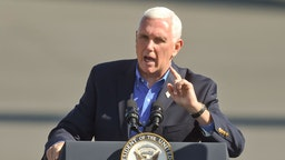 Bern Township, PA - October 17: Vice President Mike Pence speaks to the crowd. At the Reading Regional Airport in Bern township Saturday October 17, 2020 where Vice President Mike Pence made a stop in Air Force 2 for a campaign rally. (Photo by