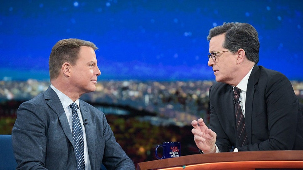 NEW YORK - DECEMBER 16: The Late Show with Stephen Colbert and guest Shepard Smith during Friday's 12/16/16 show in New York. (Photo by