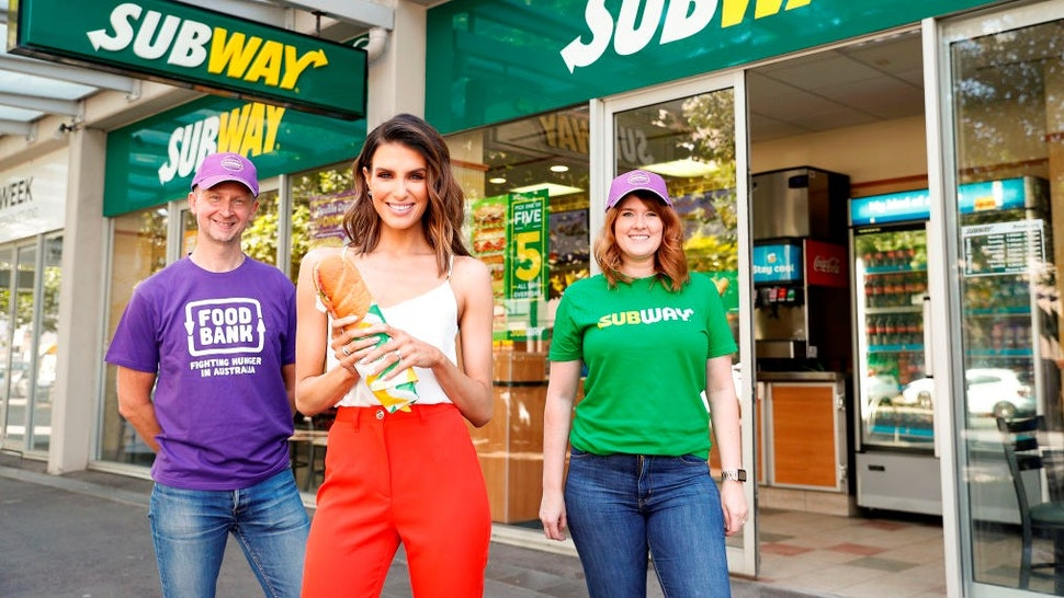 SYDNEY, AUSTRALIA - OCTOBER 23: Ian Laing, Foodbank Australia, GM of Strategic Partnerships, Erin Holland, Amanda Templeton, Subway Australia Corporate Social Responsibility Regional Manager attend the launch of World Sandwich Day on October 23, 2019 in Sydney, Australia. World Sandwich Day, Subway's largest charity fundraiser, will be held on November 1. (Photo by