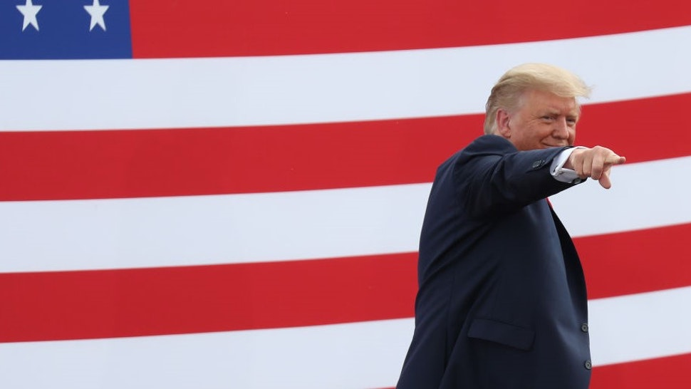 JUPITER, FLORIDA - SEPTEMBER 08: President Donald Trump gestures as he leaves after speaking about the environment during a stop at the Jupiter Inlet Lighthouse on September 08, 2020 in Jupiter, Florida. President Trump announced an expansion of a ban on offshore drilling and highlighted conservation projects in Florida. President Trump faces off against Democratic presidential candidate Joe Biden for the presidency. (Photo by