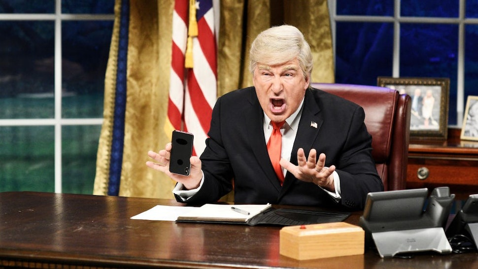 """SATURDAY NIGHT LIVE -- """"Sandra Oh"""" Episode 1762 -- Pictured: Alec Baldwin as Donald Trump during the """"Mueller Report"""" Cold Open on Saturday, March 30, 2019 -- (Photo by:"""