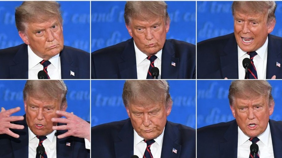 TOPSHOT - (COMBO) This combination of pictures created on September 29, 2020 shows US President Donald Trump during the first presidential debate with Democratic Presidential candidate former Vice President Joe Biden at Case Western Reserve University and Cleveland Clinic in Cleveland, Ohio, on September 29, 2020. (Photos by SAUL LOEB / AFP) (Photo by