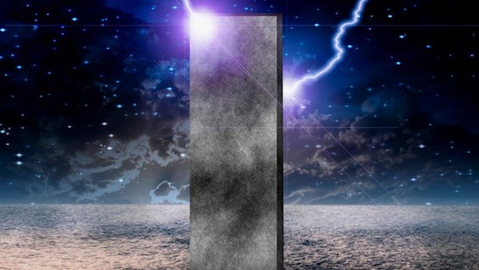 Sci-Fi composition. Strange Monolith on Lifeless Planet