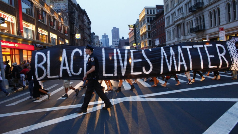 A police officer patrols during a protest in support of the Black lives matter movement in New York on July 09, 2016.