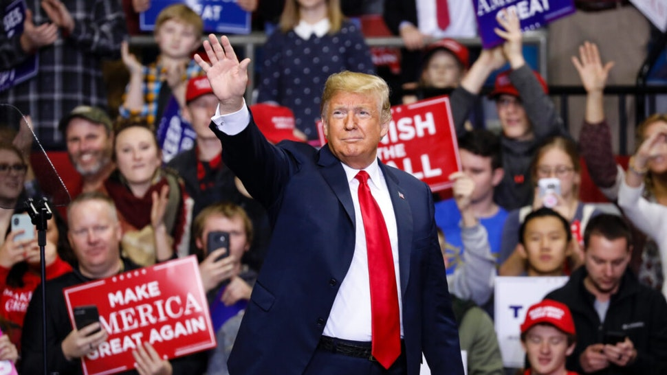 U.S. President Donald Trump arrives at a campaign rally for Republican Senate candidate Mike Braun at the County War Memorial Coliseum November 5, 2018 in Fort Wayne, Indiana.