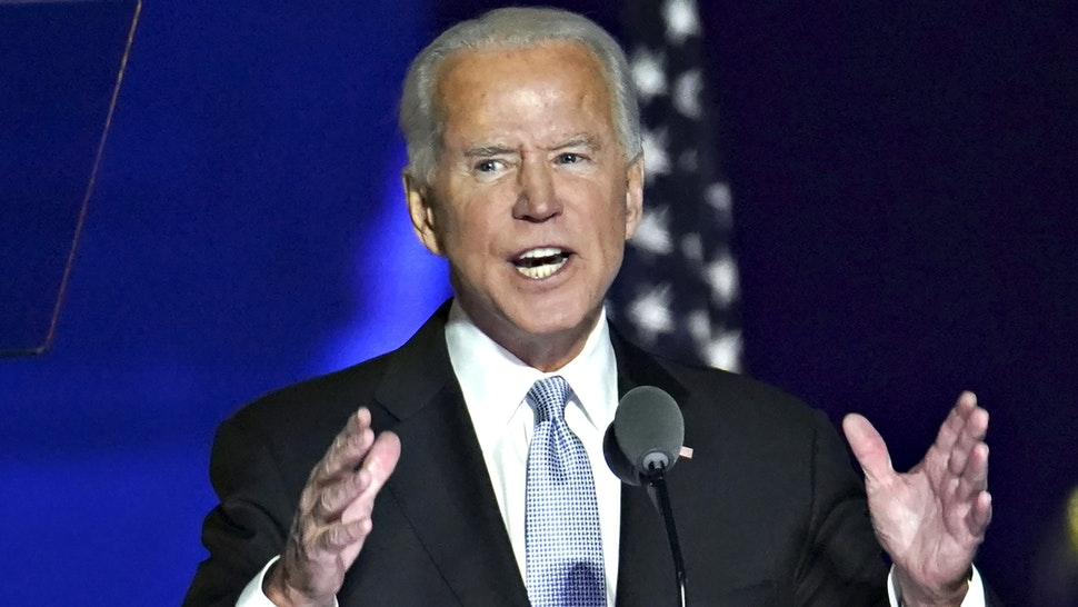 U.S. President-elect Joe Biden speaks while delivering an address to the nation during an election event in Wilmington, Delaware, U.S., on Saturday, Nov. 7, 2020. Biden defeated Donald Trump to become the 46th U.S. president, unseating the incumbent with a pledge to unify and mend a nation reeling from a worsening pandemic, faltering economy and deep political divisions.