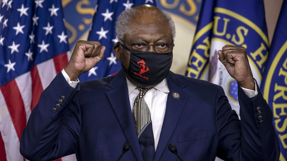 WASHINGTON, DC - JUNE 26: House Majority Whip James Clyburn (D-SC) speaks at a press conference on Capitol Hill as House Democrats mark the anniversary of Shelby County v. Holder on June 26, 2020 in Washington, DC. In its 2013 Shelby decision, the Supreme Court ruled the formula determining which states were covered by the pre-clearance provision in the Voting Rights Act was outdated, sending a mandate to Congress to update the formula.
