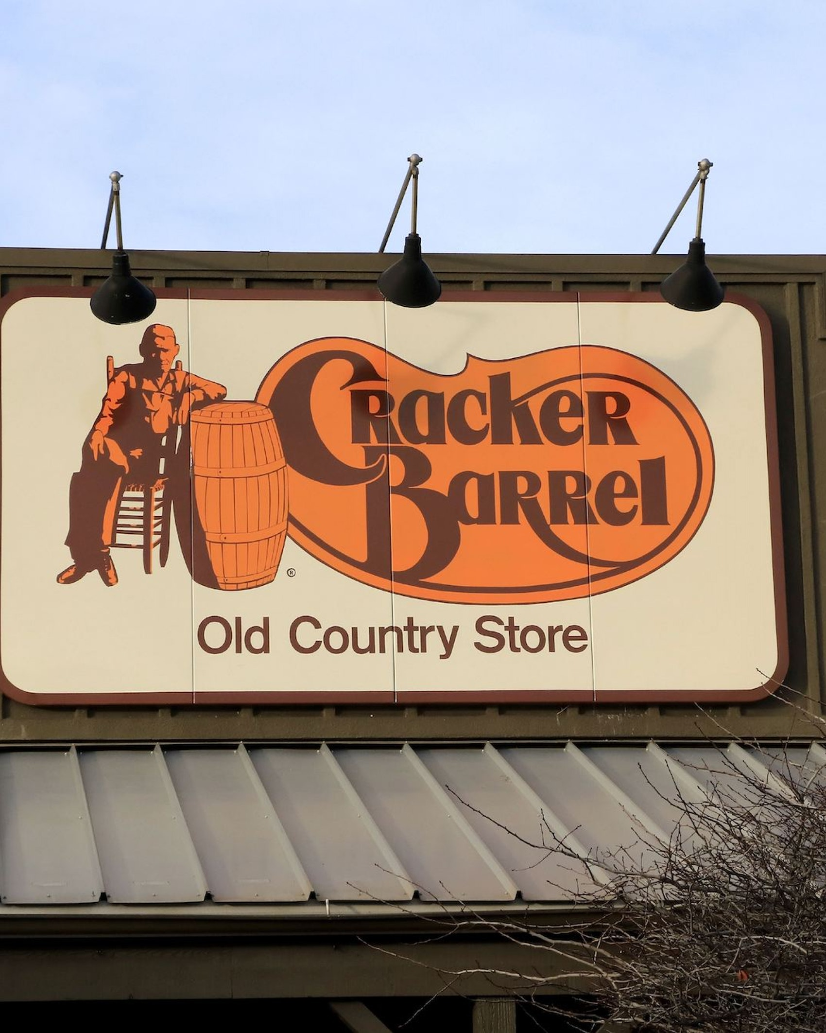 Cracker Barrel Old Country Store and Restaurant entrance sign, near Boise Idaho. (Photo by: Don & Melinda Crawford/Education Images/Universal Images Group via Getty Images)