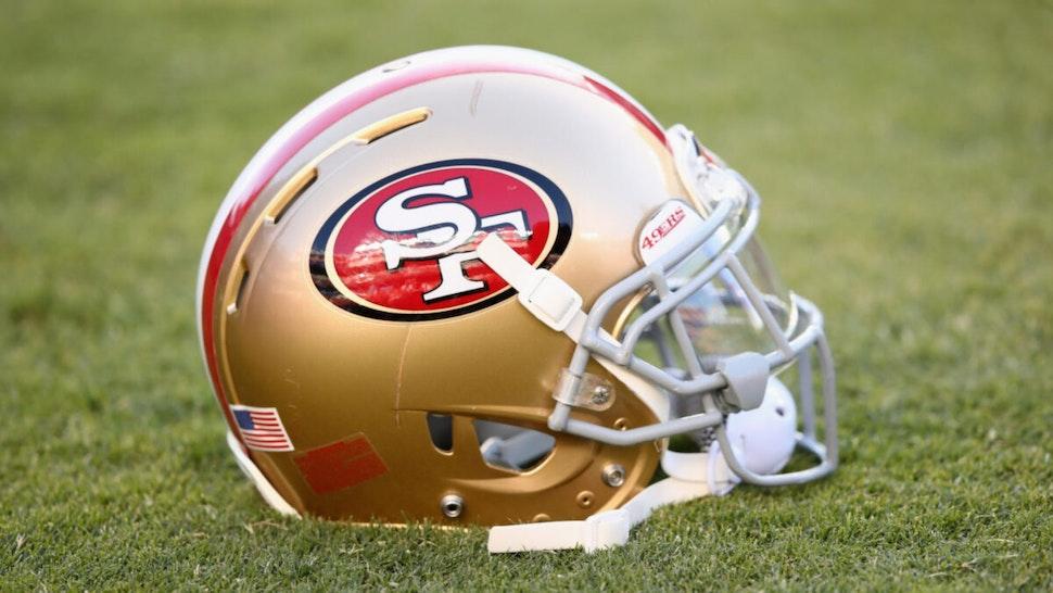 A San Francisco 49ers helmet on the field at Levi's Stadium on October 6, 2016 in Santa Clara, California.