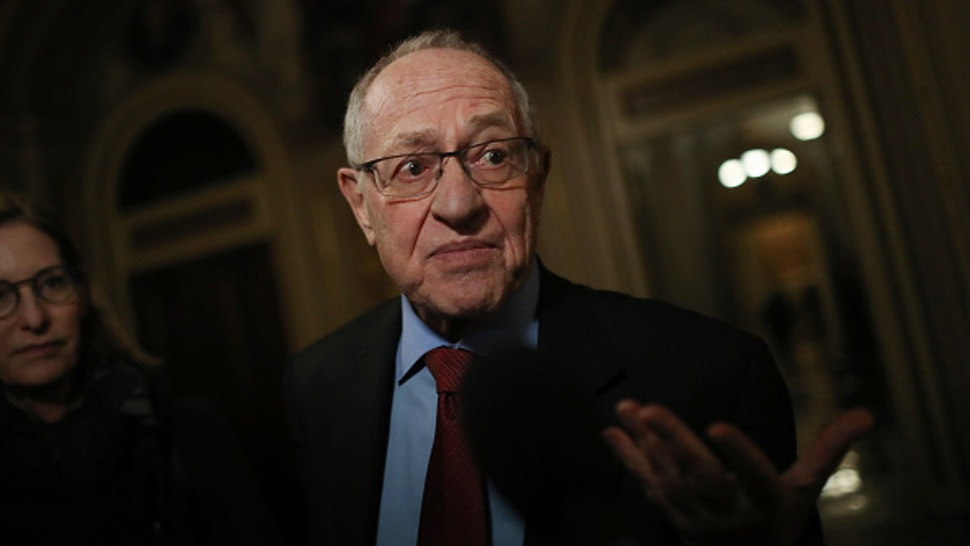 WASHINGTON, DC - JANUARY 29: Attorney Alan Dershowitz, a member of President Donald Trump's legal team, speaks to the press in the Senate Reception Room during the Senate impeachment trial at the U.S. Capitol on January 29, 2020 in Washington, DC. Wednesday begins the question-and-answer phase of the impeachment trial that will last up to 16 hours over the next two days.