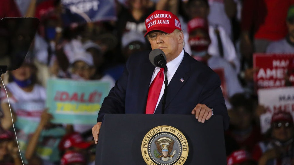 US President Donald Trump in seen during a rally to address his supporters at Miami-Opa Locka Executive Airport in Miami, Florida, United States on November 2, 2020. (Photo by Eva Marie Uzcategui Trinkl/Anadolu Agency via Getty Images)