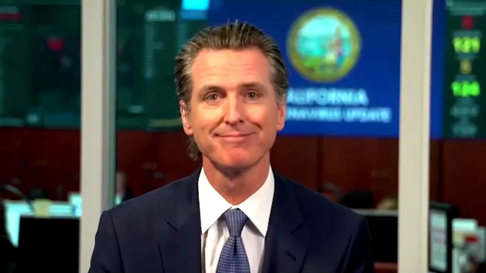 LATE NIGHT WITH SETH MEYERS -- Episode 980A -- Pictured in this screen grab: Gov. Gavin Newsom during an interview on April 30, 2020 -- (Photo by: NBC/NBCU Photo Bank via Getty Images)