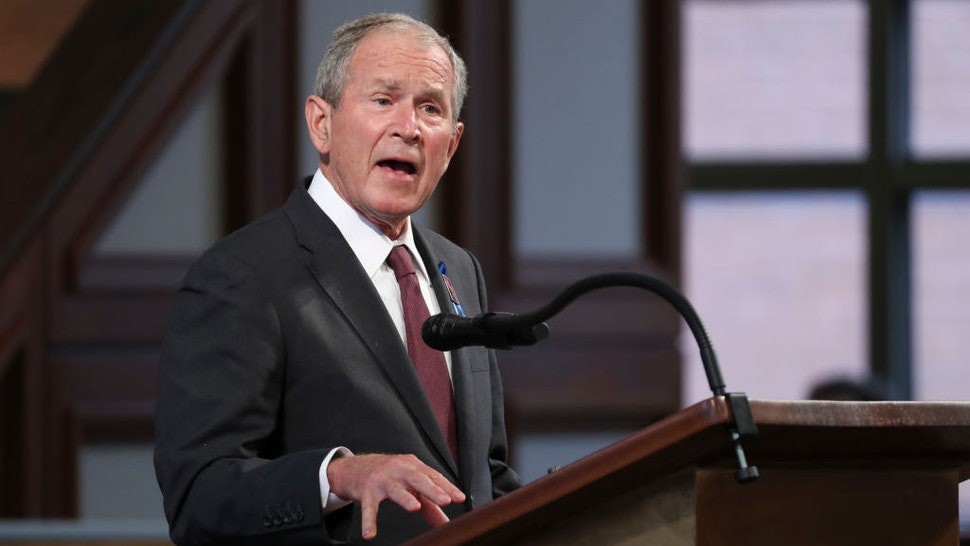 ATLANTA, GA - JULY 30: Former U.S. President George W. Bush speaks during the funeral service of the late Rep. John Lewis (D-GA) at Ebenezer Baptist Church on July 30, 2020 in Atlanta, Georgia. Former U.S. President Barack Obama gave the eulogy for the late Democratic congressman and former presidents George W. Bush and Bill Clinton were also in attendance. Rep. Lewis was a civil rights pioneer, contemporary of Dr. Martin Luther King, Jr. and helped to organize and address the historic March on Washington in August 1963. (Photo by Alyssa Pointer-Pool/Getty Images)