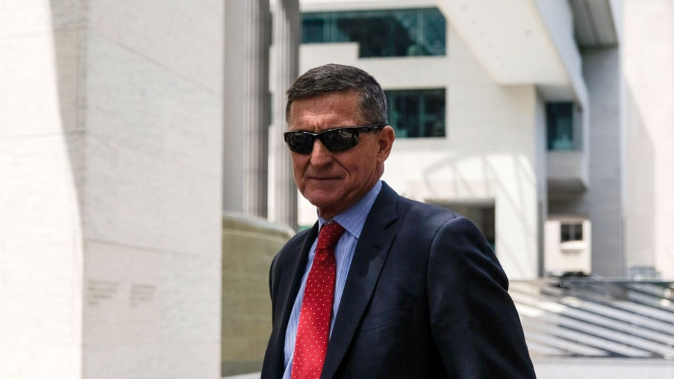 President Donald Trump's former National Security Adviser Michael Flynn leaves the E. Barrett Prettyman U.S. Courthouse on June 24, 2019 in Washington, DC