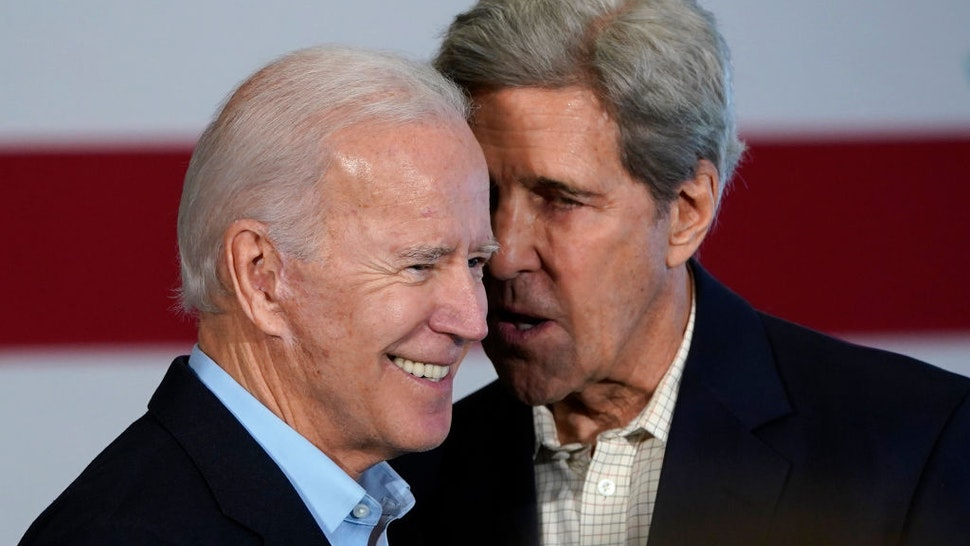 CEDAR RAPIDS, IOWA - DECEMBER 06: Democratic presidential candidate former U.S. Vice president Joe Biden (L) campaigns with former Democratic presidential candidate John Kerry (R) December 6, 2019 in Cedar Rapids, Iowa. Kerry announced his endorsement of Biden yesterday with the Iowa caucuses less than two months away. (Photo by Win McNamee/Getty Images)
