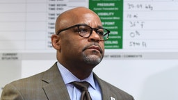 Mayor Michael Hancock gives an update on current efforts to respond to COVID-19 (novel coronavirus) in the City and County of Denver on March 9, 2020 in Denver, Colorado.