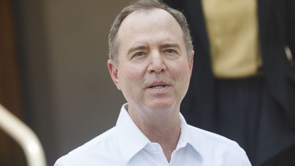 Representative Adam Schiff, a Democrat from California, speaks during a news conference outside a U.S. Postal Service location in Burbank, California, U.S., on Tuesday, Aug. 18, 2020.