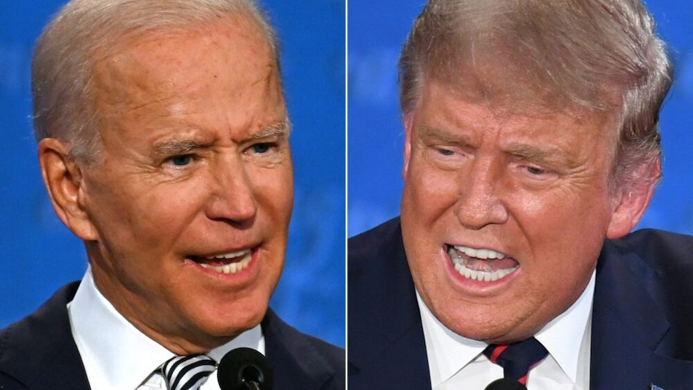 TOPSHOT - (COMBO) This combination of pictures created on September 29, 2020 shows Democratic Presidential candidate and former US Vice President Joe Biden (L) and US President Donald Trump speaking during the first presidential debate at the Case Western Reserve University and Cleveland Clinic in Cleveland, Ohio on September 29, 2020. (Photos by JIM WATSON and SAUL LOEB / AFP)
