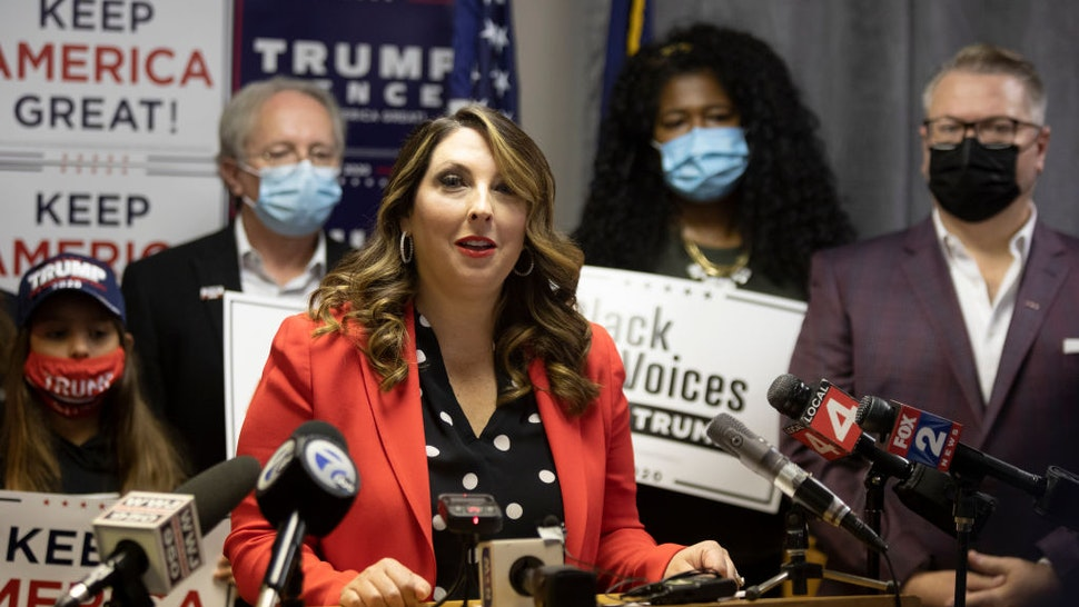 Republican National Committee Chairwoman Ronna McDaniel speaks during the Trump Victory press conference on November 6, 2020 in Bloomfield Hills, Michigan.