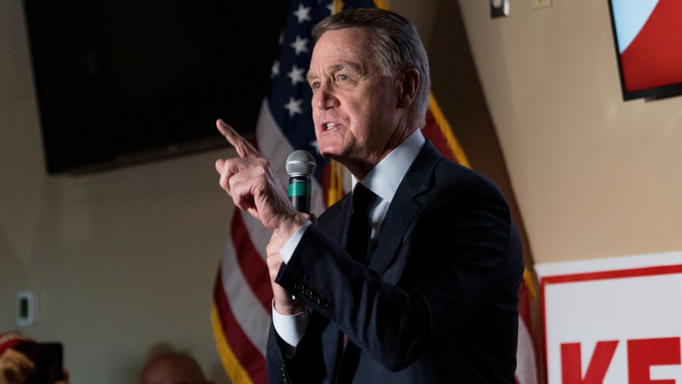 U.S. Sen David Perdue (R-GA) speaks at a campaign event to supporters at a restaurant on November 13, 2020 in Cumming, Georgia.