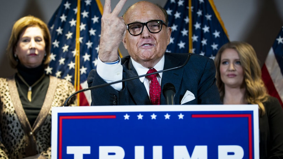 Rudy Giuliani, personal lawyer to U.S. President Donald Trump, speaks during a news conference at the Republican National Committee headquarters in Washington, D.C., U.S., on Thursday, Nov. 19, 2020.