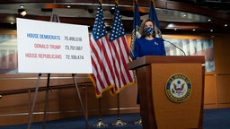 Speaker of the House Nancy Pelosi (D-CA) speaks during her weekly news conference on Capitol Hill November 20, 2020 in Washington, DC.