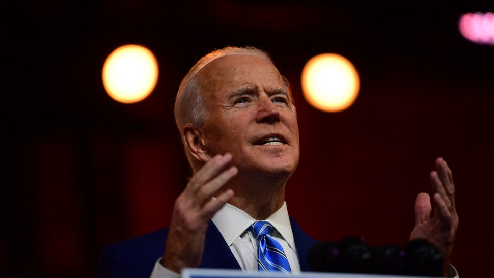 President-elect Joe Biden delivers a Thanksgiving address at the Queen Theatre on November 25, 2020 in Wilmington, Delaware.